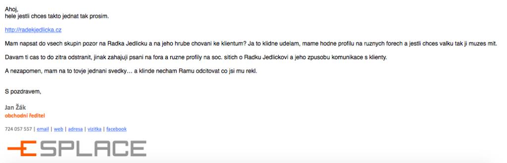 Jan Žák vyhrožuje